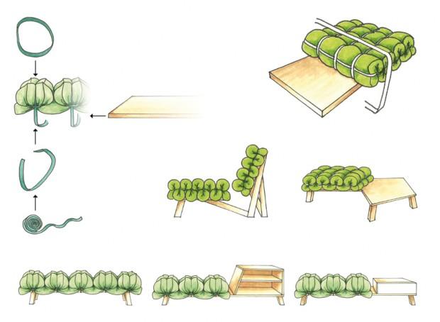 Zieharsofika 9 Benches by Flat Foam Mat