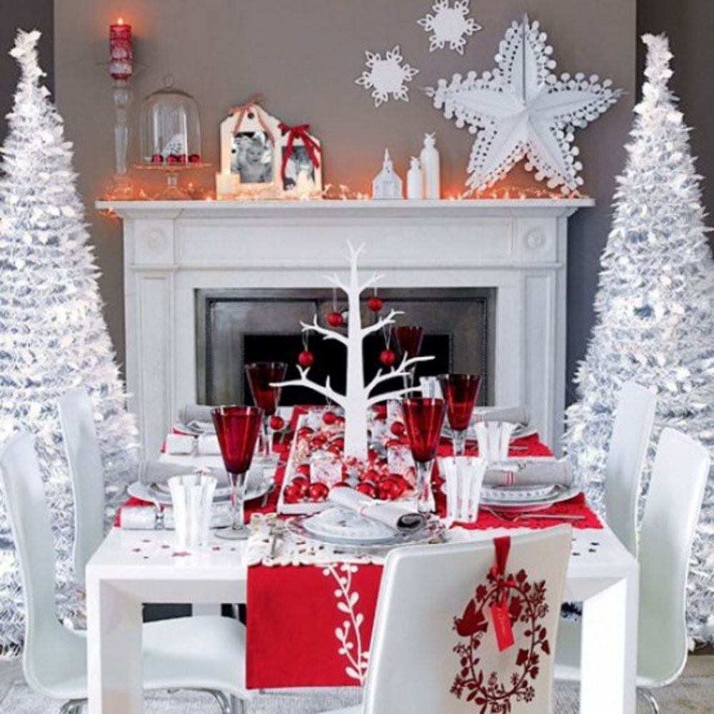 65 adorable christmas table decorations decoholic for Ideas to decorate dining room table for christmas