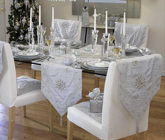 white and silver decorations for Christmas