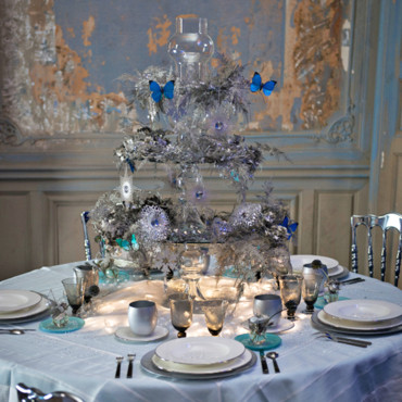 silver and blue decor for table
