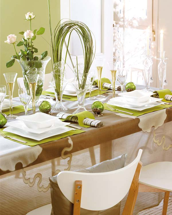 green adorable christmas table decorations 6 ideas