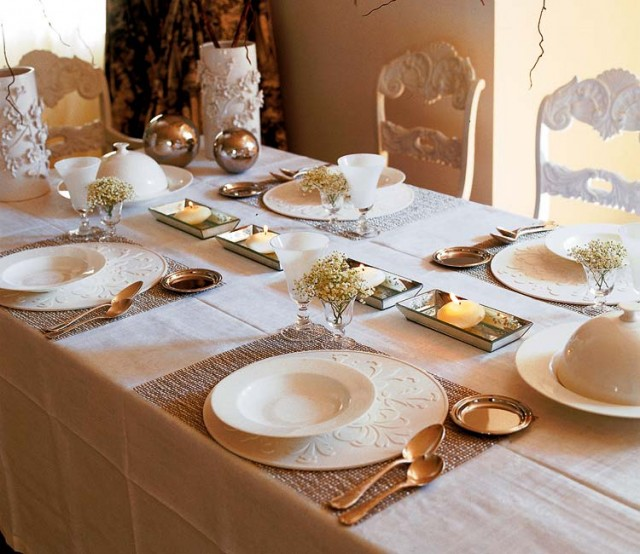 white and golden details on the table