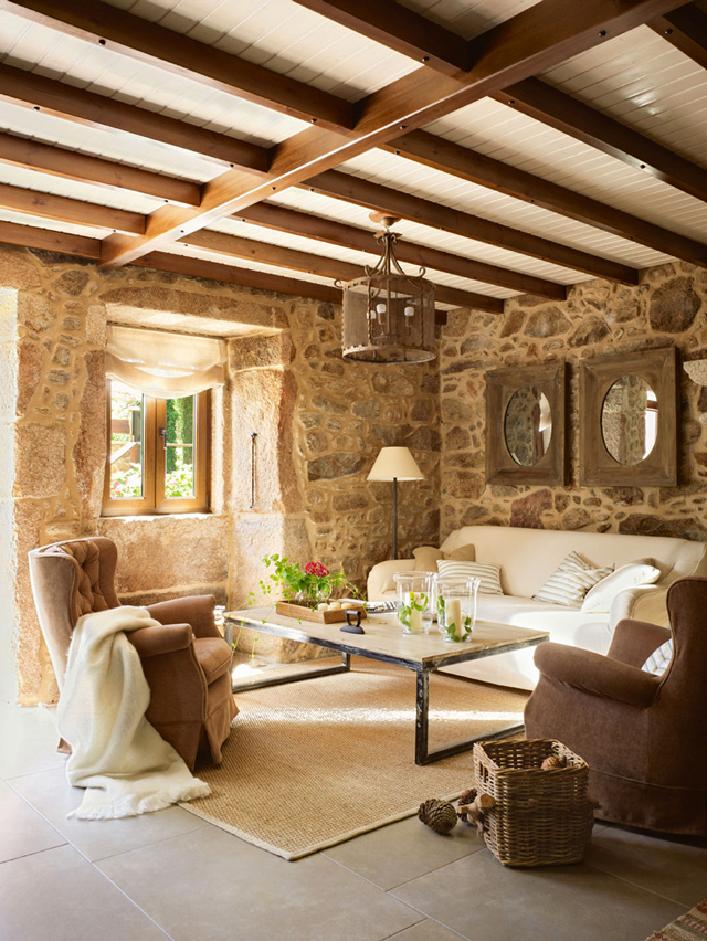 docotarino stone interiors Lugar Do Cotariño Rustic Hotel in Spain