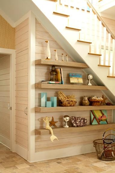 floading shelves under the stairs 14 decorating ideas