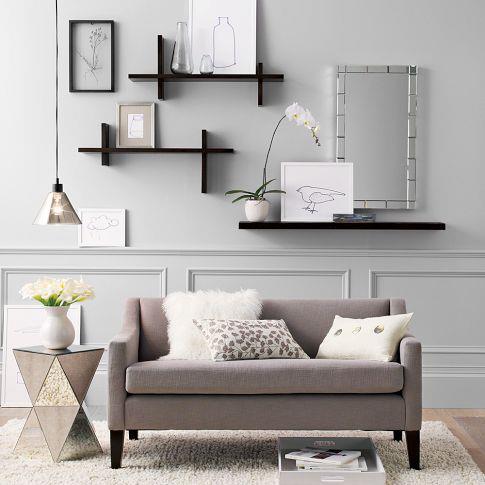floating shelves in a minimal room