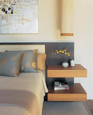 shelves near bed