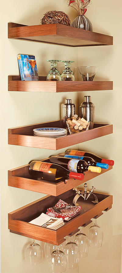 wood floating shelves in kitchen