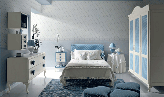 white and blue girls' bedroom furniture 11