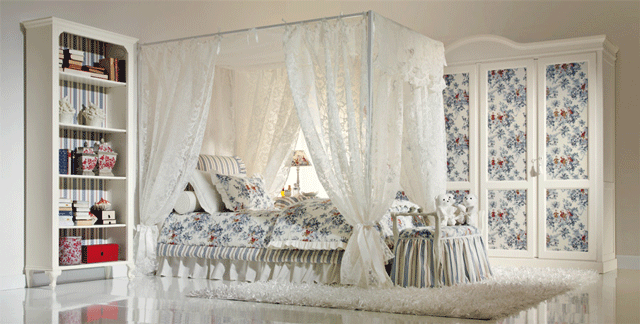 romantic floral white  girls' bedroom furniture 13