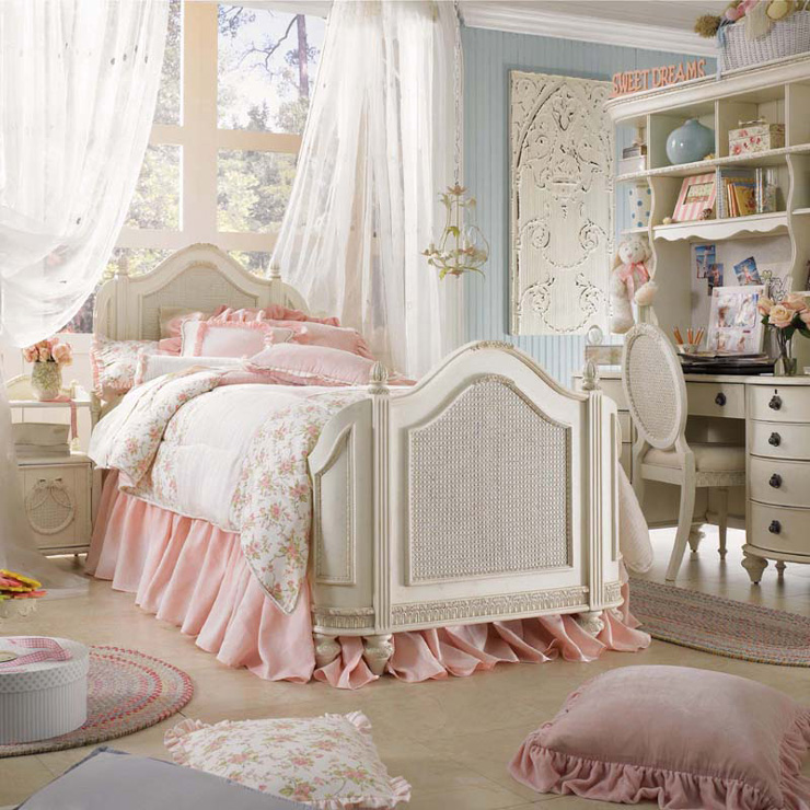 romantic girls' bedroom white rosen set