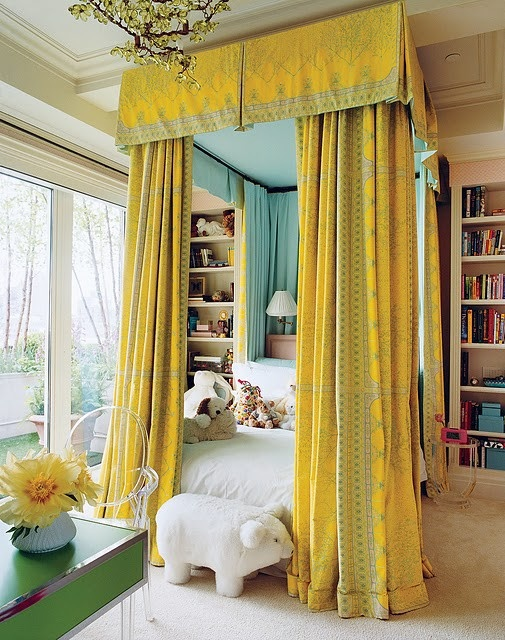rustic romantic girls room with yellow drapes