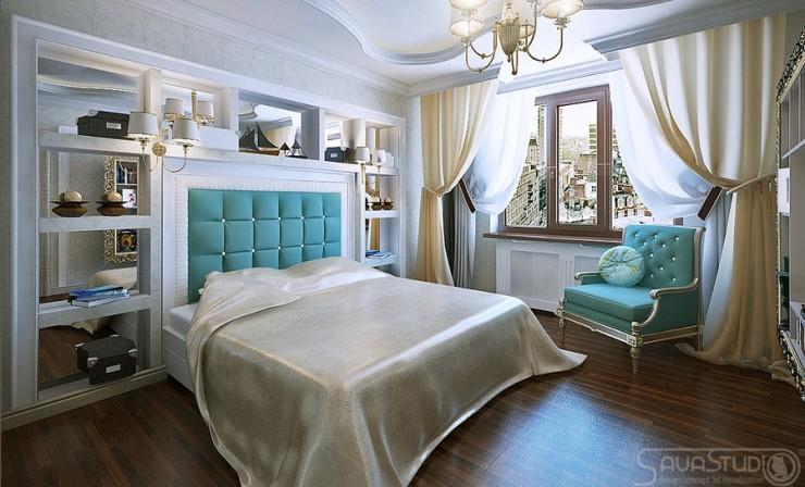 turquoise luxury bedroom by sava studio