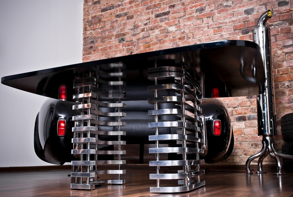 Unique furniture collection made by real car parts miami Custom furniture made car parts