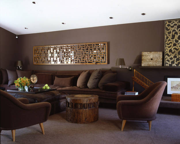 Earth Chocolate Color Living Room Design