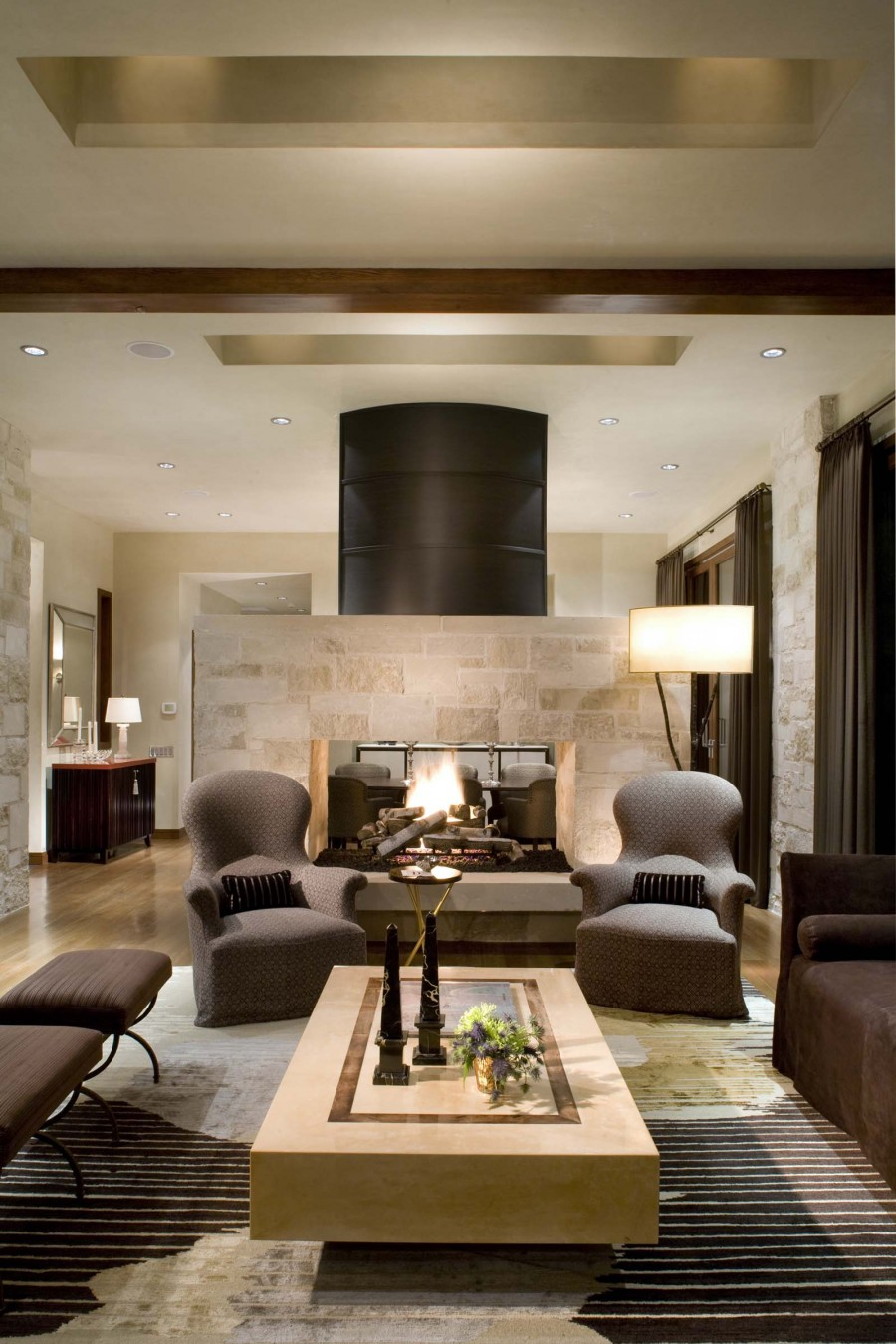 16 fabulous earth tones living room designs decoholic for Interior fireplaces designs