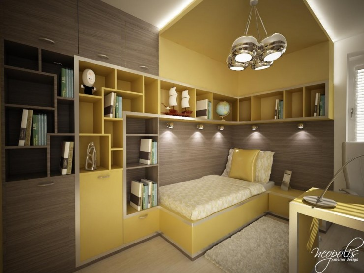 grey beige and yellow kids room by neopolis