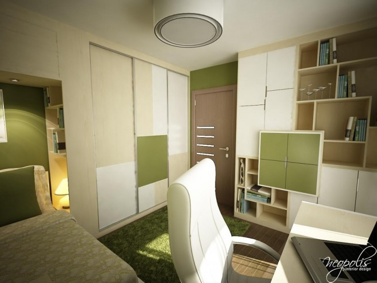beige white and green kids room by neopolis