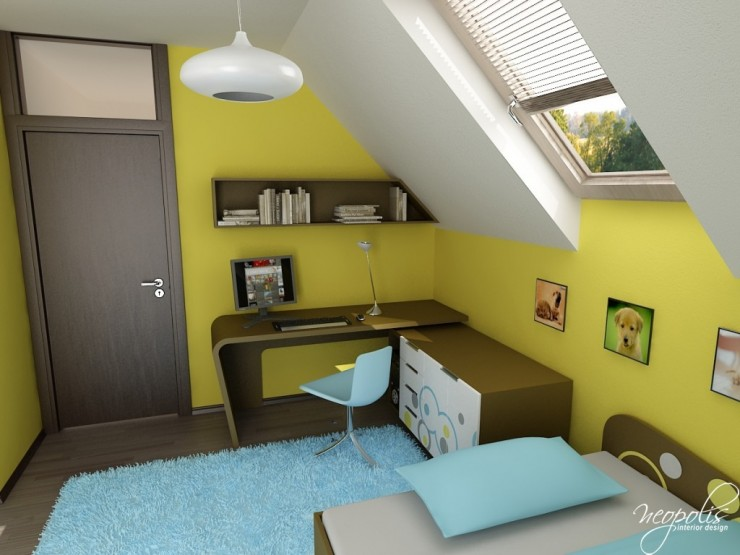 light blue and yellow kids room design