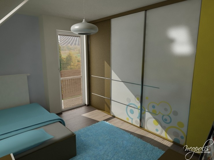 light blue kids room with white wardrobe by neopolis