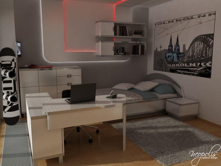 modern white boy bedroom by neopolis