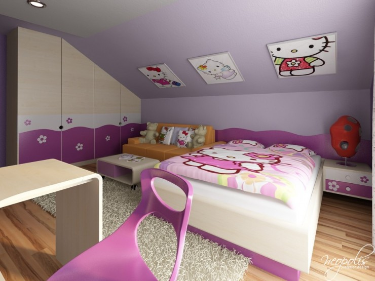 purple hello kitty girls room by neopolis