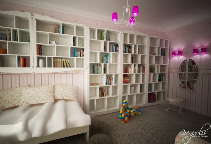 white kids room with large bookshelf by neopolis