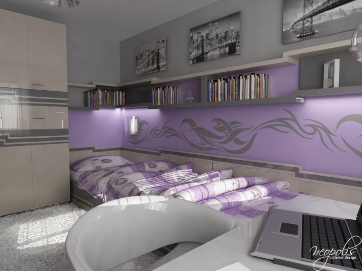 light purple and grey girls room 43 by neopolis