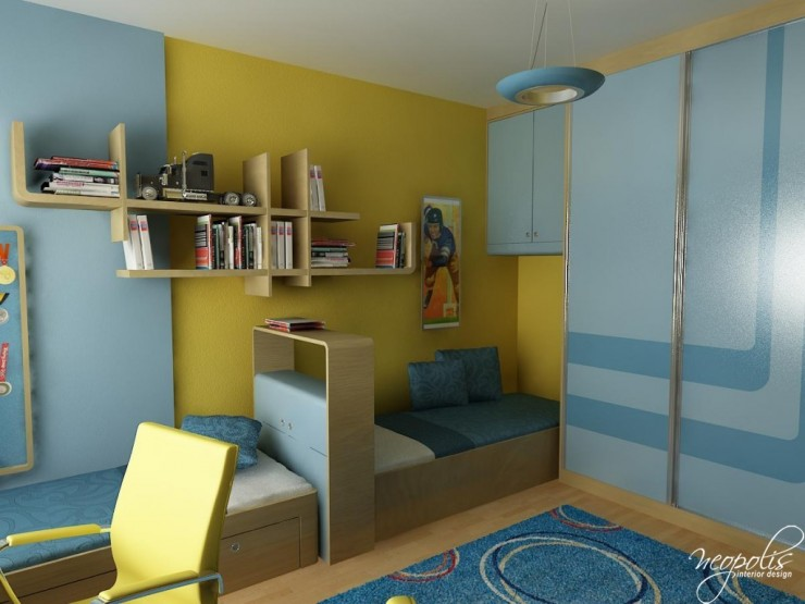 blue and yellow kids room 47 by neopolis