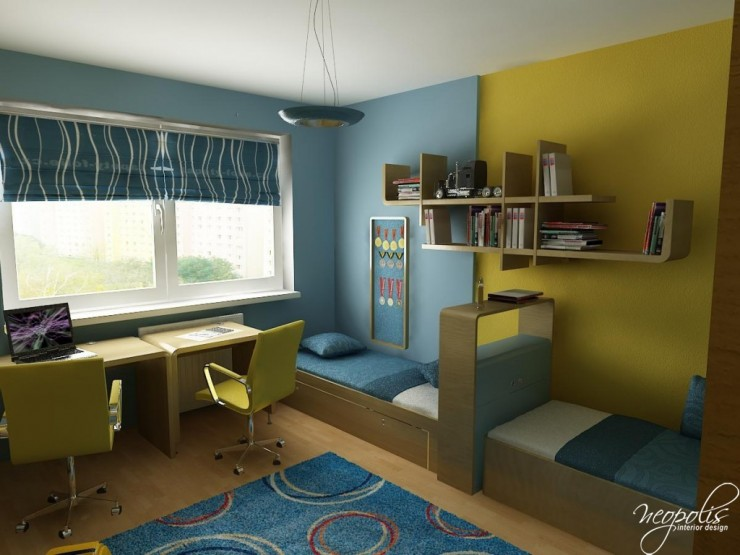 blue and yellow kids room 48 by neopolis
