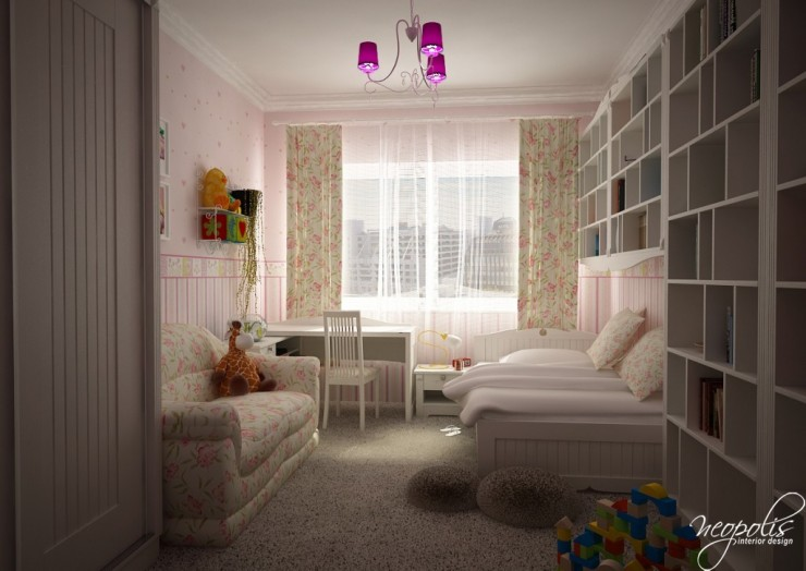 white kids room design for girls by neopolis
