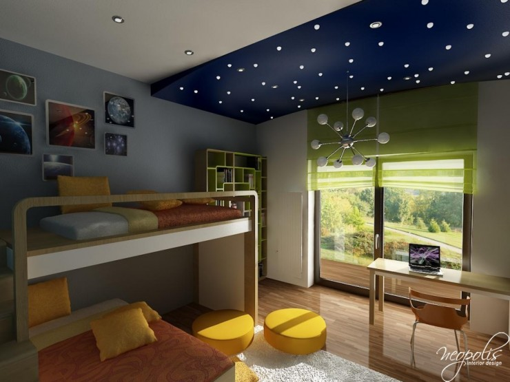 blue and yellow kids room with bunk bed 51 by neopolis