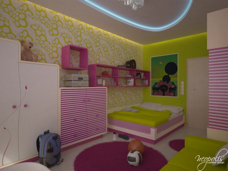 lime yellow and pink kids room bt neopolis