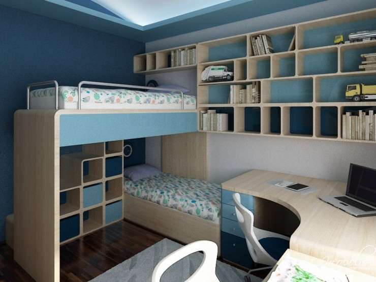 blue and light blue kids room 64 by neopolis