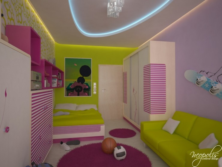 yellow and pink girls bedroom by neopolis
