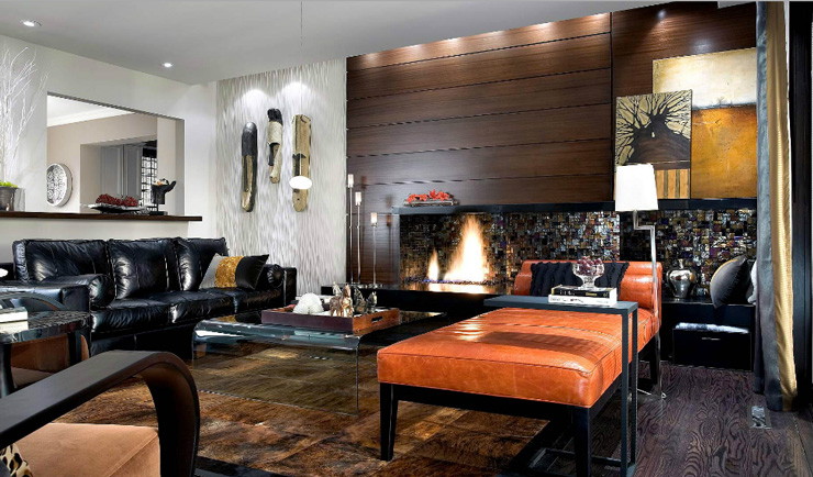 living room with wood fireplace photo by brandon barre