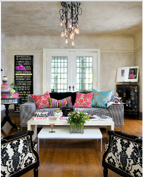 eclectic with baroque prints living room photo by brandon barre