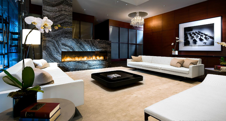 living room with large marble fireplace photo by brandon barre