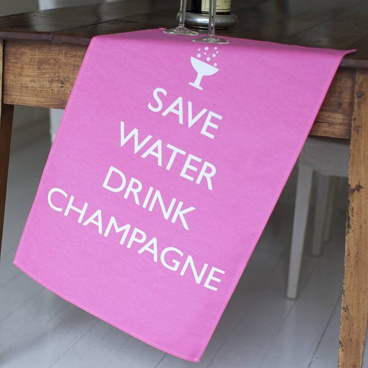 'Save Water Drink Champagne' 2 Tea Towel