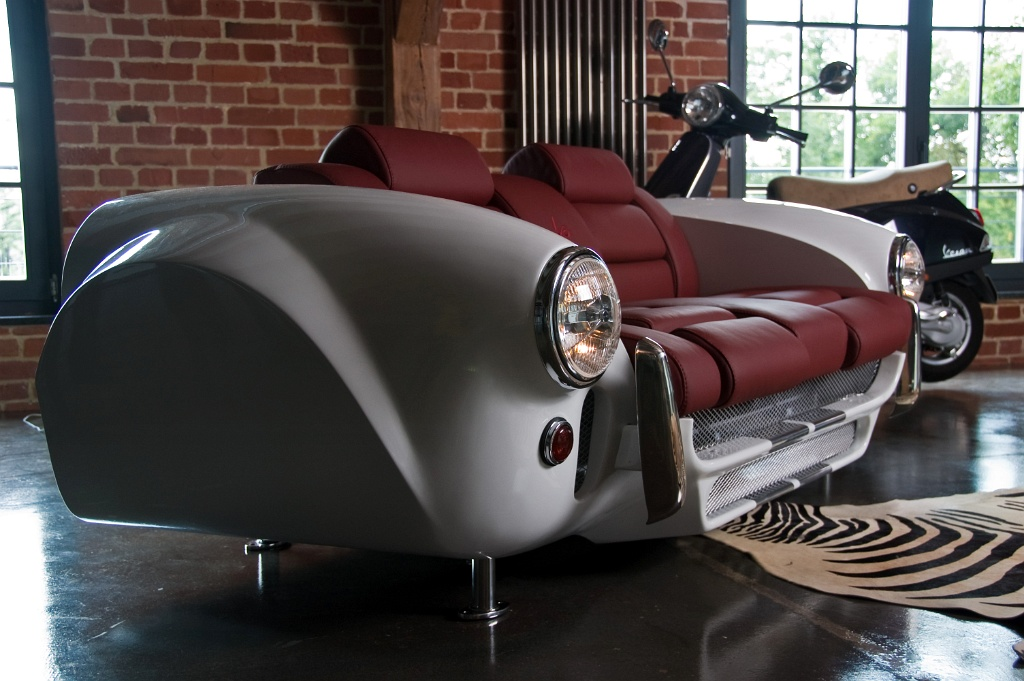 Unique furniture collection made by real car parts miami for Furniture made from cars