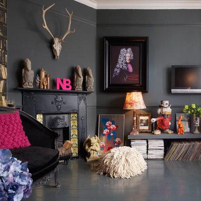 dark grey walls in a fireplace