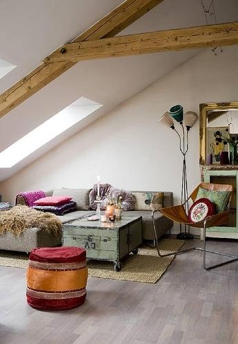 exposed beams in living room