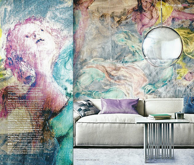 10 living room designs with unexpected wall murals decoholic for Classic mural painting