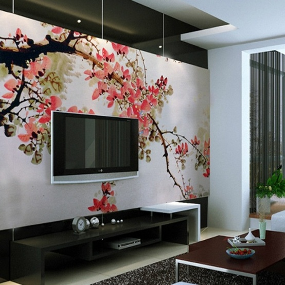 10 living room designs with unexpected wall murals decoholic for Asian mural wallpaper