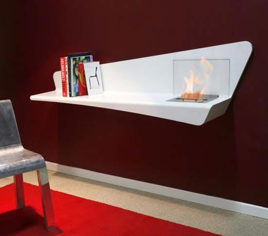 Helios Wall Fireplace bookShelf