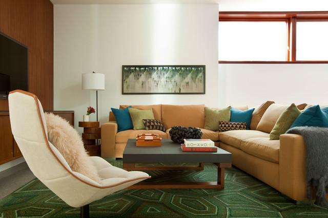 contemporary earth tones living room by Stephanie Wohlner