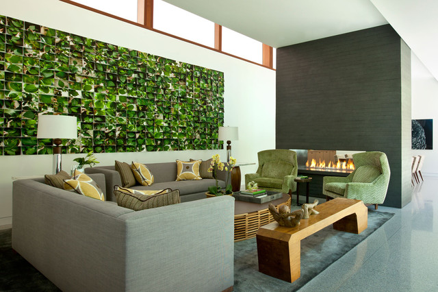 green and grey contemporary living room by Stephanie Wohlner