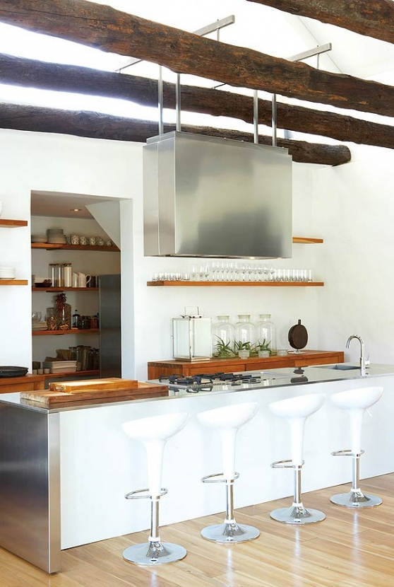 contemporary barn white kitchen