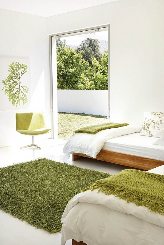 contemporary green bedroom