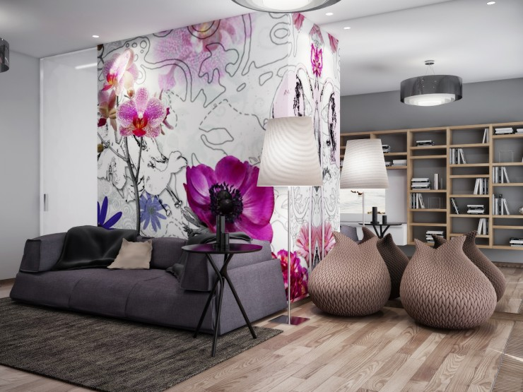 living room with purple floral mural