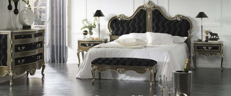 luxury bedroom design black velve and silver bedt